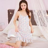 夏季薄款莫代尔睡裙 吊带背心无袖短裙 女生韩版甜美可爱居家服裙 FNX7103