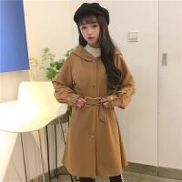 风衣女中长款冬季加厚原宿风ulzzang气质收腰开衫外套学生韩版bf