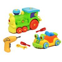 20190701145456797儿童可拆卸组装玩具车宝宝电钻工具拧螺丝男女孩拼装2-3-6岁4 老爷车+大火车+电钻