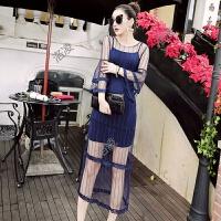 2018春秋新款韩版女装长袖两件套吊带仙女裙时尚打底网纱连衣裙潮