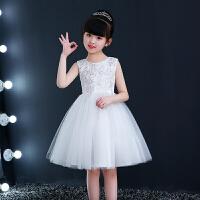 女童公主裙夏礼服儿童生日蓬蓬裙主持人亮片钢琴演出服女孩白纱裙 白色