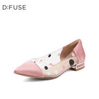 迪芙斯(D:FUSE)2019年春季专柜同款布面波点尖头低跟单鞋DF91111102