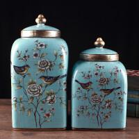 欧式陶瓷储物罐带盖简约茶叶罐大号糖果罐子美式创意摆件