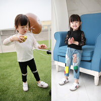 女童t恤童装春季新款 儿童蕾丝百搭上衣长袖打底衫