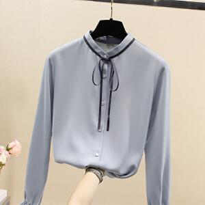 安妮纯立领蝴蝶结喇叭袖长袖雪纺衫2020春装新款韩版宽松白色衬衫女衬衣