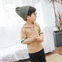冬季男女童毛衣秋装新款2018儿童洋气时髦中小童带帽针织衫韩版女孩潮秋冬新款
