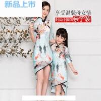 2018夏季女童子旗袍连衣裙中国风唐装汉服宝宝短袖演出礼服