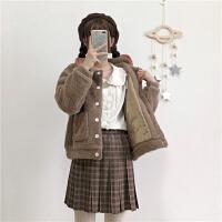 羊羔毛外套女短款冬装韩版学院风娇小女生刺绣百搭加绒保暖外套潮