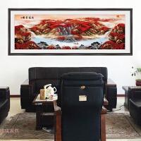 客厅电视背景墙装饰鸿运当头山水字画万里长城风水靠山九鱼聚宝 超大