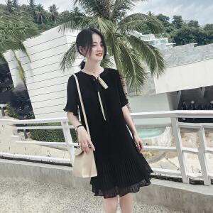 【人气女神新款!!】【不挑人穿!!】2018夏装新款雪纺连衣裙女夏季温柔裙气质显瘦超仙冷淡风黑色裙子