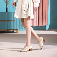 骆驼女鞋2019秋季新款真皮百搭舒适高跟女单鞋粗跟英伦风小皮鞋女