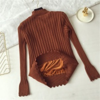秋冬季新款修身半高领加绒加厚套头打底衫针织衫短款保暖毛衣女士 均码