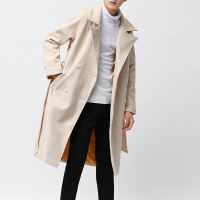 秋冬季风衣男中长款过膝青年韩版宽松帅气学生加厚毛呢子大衣外套