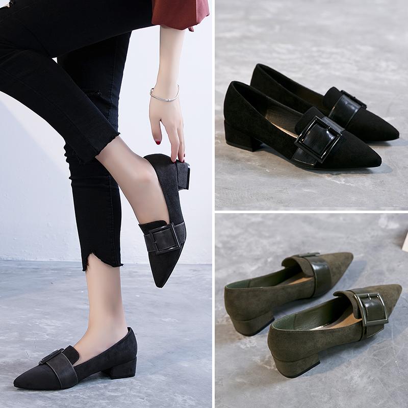 ZHR2018春季新款韩版浅口单鞋女尖头鞋子粗跟休闲鞋百搭平底女鞋F50