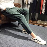 秋季男装中国风拼接小脚裤潮男裤子松紧腰休闲哈伦裤男束脚裤