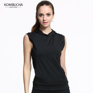 【限时特惠】KOMBUCHA瑜伽短袖2018新款女士速干透气无袖连帽T恤健身跑步运动上衣K0140