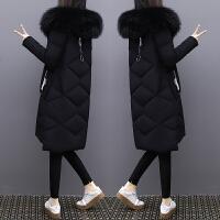 黑色超大毛领羽绒服女2018新款冬装中长款加厚白鸭绒外套潮 黑色