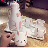 创意陶瓷杯子大容量水杯马克杯简约情侣杯带盖勺咖啡杯牛奶杯套装