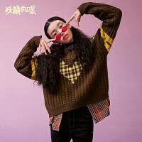 【2件5折】妖精的口袋Y格子撞色套头毛衣女冬装2018新款休闲短款V领织衫潮