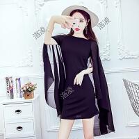 迷死人裙子夏新款韩版时尚女装拼接雪纺个性潮修身显瘦包臀连衣裙