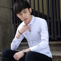 春季新款男士长袖衬衫韩版修身印花衬衣学生休闲男装免烫寸衫