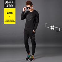 运动套装男士秋季新款潮流卫衣两件套休闲时尚跑步运动服 黑色