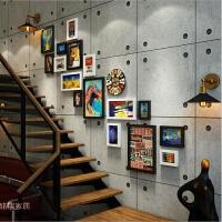 复古相框loft工业风楼梯照片墙木质挂钟组合相框相片墙墙饰装饰品