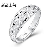 满天星990足银开口戒指男士韩版纯银戒指女士情人节礼物送男友【一只价】