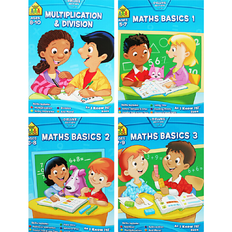 【5-10岁数学练习4册】School Zone I Know It Workbook 入学准备小学数学 Maths Basics Multiplication and Division 英文原版 附答案