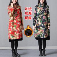 冬装新款民族风女装大码加绒加厚棉麻中长款舒适女连衣裙长裙