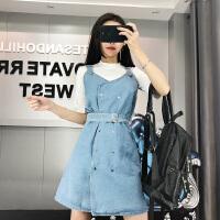 2018春季新短袖T恤+不规则牛仔背带连衣裙时尚套装女潮