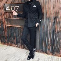 秋冬条纹西服套装男正装两件套修身休闲小西装伴郎礼服夜场发型师
