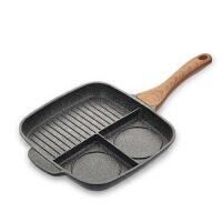 麦饭石煎牛排锅三合一家用煎蛋锅平底锅电磁炉早餐锅煎锅