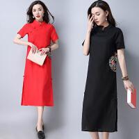 修身连衣裙2018春装新款民族风女装长款短袖立领改良中国风裙子