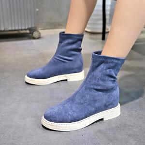 短靴女袜子鞋女学生秋季新款韩版平底网红英伦风袜靴百搭瘦瘦马丁靴女2339DTH