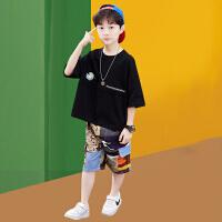 木木屋2021新款男童夏季套装中大童洋气男孩帅气短袖韩版儿童短袖潮