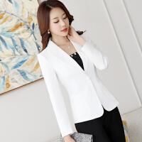 小西装女外套韩版春秋职业装修身短款正装休闲女式西服帅气上衣 白色 9961款