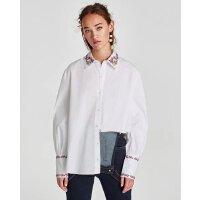 秋装新款花朵刺绣翻领白色衬衫长袖衬衣女百搭