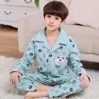 儿童睡衣男 春秋季长袖棉质儿童睡衣开衫套装中大男童韩版家居服 浅绿