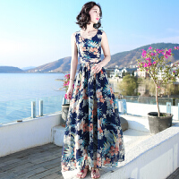 夏季新品女装露背无袖雪纺连衣裙长裙波西米亚海边度假沙滩裙 图片色XZA561