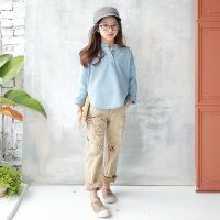 2019 韩版童装春夏牛仔童装儿童套头衫中大童牛仔服 蓝色