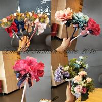 教师节创意礼品韩国时尚仿真花笔圆珠笔玫瑰花朵蝴蝶结婚礼签字笔