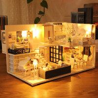 3d立体拼图木质模型女孩玩具房子手工制作DIY小屋儿童情人节礼物