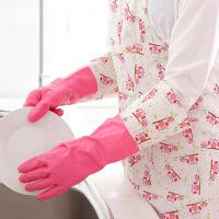 3双装泰蜜熊冬季洗碗手套加绒加厚橡胶洗衣服手套厨房家务防水耐用塑胶皮手套