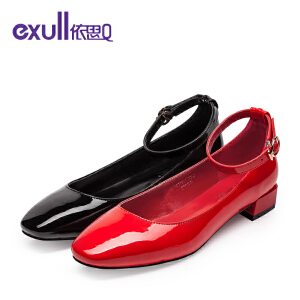 依思q秋季新款亮面方头低跟女鞋简约舒适腕带单鞋女-