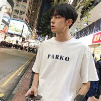 韩版简约字母印花男生短袖T恤夏季新款2018宽松圆领半袖体恤潮男