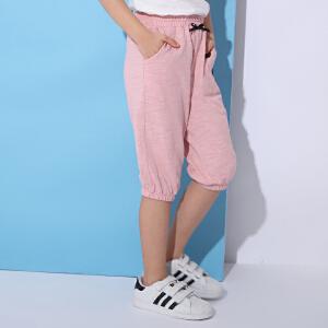 米奇丁当女童童装七分裤2018夏季新款儿童纯棉松紧休闲运动哈伦裤