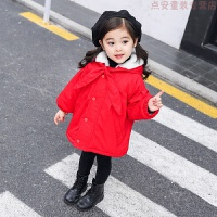 童装女童加绒棉衣2018冬装新款儿童中长款圣诞棉袄女宝宝新年 红色