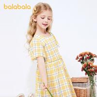 巴拉巴拉女童连衣裙儿童裙子2021新款夏装大童公主裙格纹复古休闲