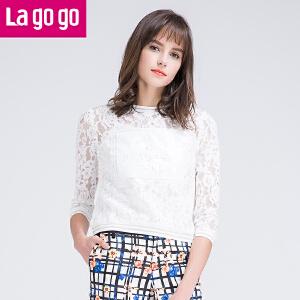 Lagogo2016春新款休闲长袖吊带T恤套装两件套女七分袖蕾丝上衣女